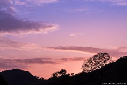 Sunset over Castle Dina Bran in Wales   Scherenschnitt von der Burgruine Dina Bran im letzten Licht des Tages