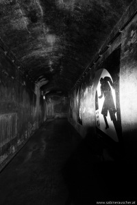 corridor with pictures of filmscenes   Gang mit Bildern von stilisierten Filmszenen